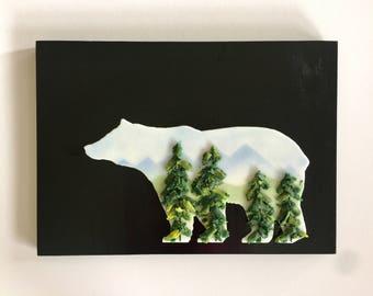 Fused glass, handmade fused glass, fused glass wall panel, Fused Glass art, handmade fused glass panel, fused glass wall art, mountain, bear