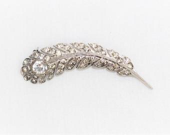 Vintage Sterling Silver 925 1 Ct Spinel & Rhinestone Filigree Pin Brooch 6 Grams