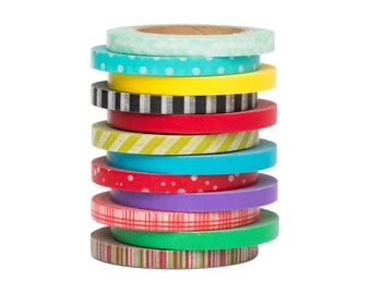 """12 Thin Washi Tape Set - 11/64"""" Wide - Solid Colors and Pattern Colors - Planner Stickers - Scrapbooking - Erin Condren - Love My Tapes"""