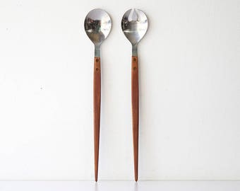Vintage Danish Modern Teak Salad Serving Utensils