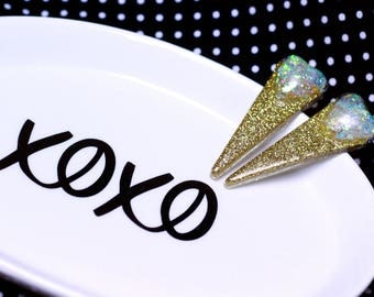 Gold / Iridescent Triangle Stud Earrings