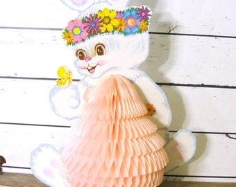 Vintage Paper Easter Bunny Centerpiece, Beistle Honeycomb Folding Easter Rabbit Decoration