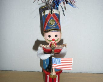 Handmade July 4th Decoration, Spun Cotton and Chenille Soldier Playing Bugle, Boogie Woogie Bugle Boy, Upcycled Christmas Ornament