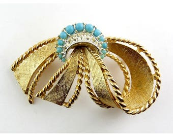 1950's MARBOUX Gold & Silver Tone Looped Bow Pin with Rhinestones and Faux Turquoise