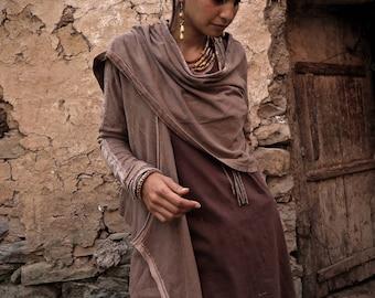 Organic Veg Dye  Hemp Cotton tribal earthy cardigan with Viking style inspired prints  Eco Friendly Gypsy