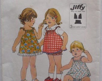 Simplicity 8048 - Toddler Girls Jiffy Dress or Jumper and Bloomers - Size 2, Breast 21