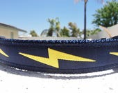 """Dog Collar Lightning Bolt, Navy, Quick Release buckle 1"""" wide adjustable -info in details - see 1"""" Red Bolt collar in link within"""