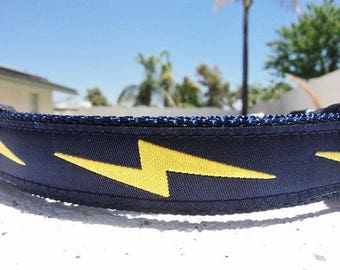 "Dog Collar Lightning Bolt, Navy, Quick Release buckle 1"" wide adjustable -info in details - see 1"" Red Bolt collar in link within"