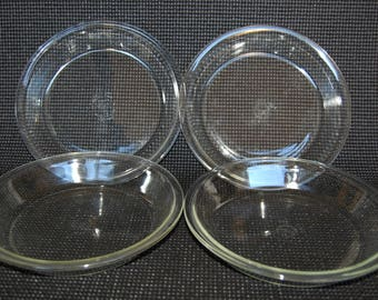 Set of 4 Vintage Pyrex 8 inch Pie Plates Pyrex 208 Clear Glass Pie Plates 1950s Marks
