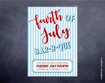 4th of July Independence Day Barbeque BBQ Invite Invitation Digital Printable