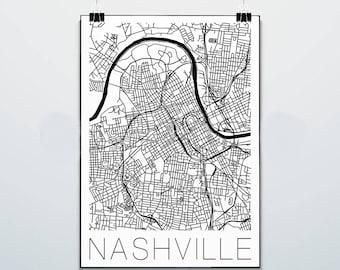 Nashville - Tennessee - Map - Commodores  - Print - Poster - Street Map - Vanderbilt University - White