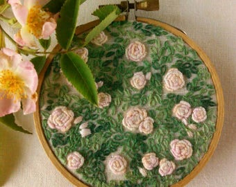 Rambling Rose Hand-Embroidered Wall Art Hoop