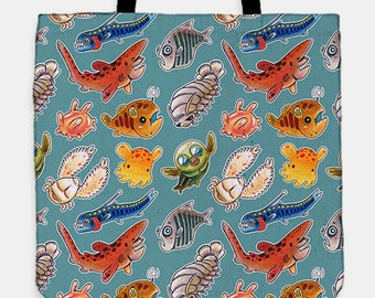 Deep sea creatures tote bag
