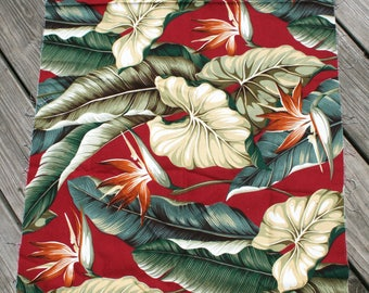 Vintage TROPICAL Birds Of Paradise BARKCLOTH FABRIC Upholstery Remnant 55 X 22 Exotic