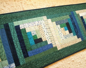 Quilted Fall Log Cabin Long Table Runner