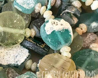Ancient Roman Glass Bead Strands - You Choose - Tribal Boho Rustic Earthy Bohemian AB - Matte Sea Glass Green Blue Central Coast Charms