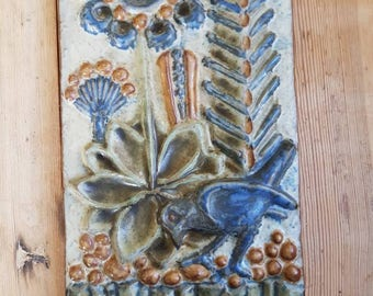 Mid century bird /retro / ceramic / pottery  Seramic plaque / ceramic wall decor / seramic wall hanging /wall plaque from Bornholm, Denmark