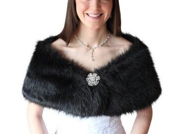 Summer Sale Bridal shrug, Black Faux Fur Wrap, Fur Stole, Bridal Fur Shrug, Wedding Fur Shawl, faux fur cape