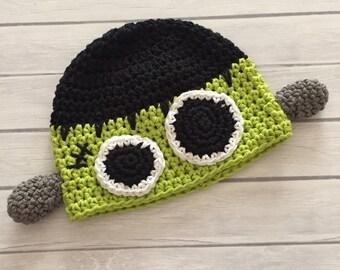 Frankenstein hat, Halloween hat, crochet frankenstein, monster hat, baby Frankenstein, Frankenstein costume, Halloween baby hat, photo prop