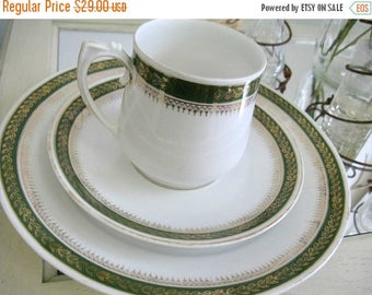 Antique Teacup Set Saucer Dessert Plate 3 piece Setting German China Green White
