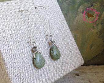 Olive Green Turquoise Wire Wrap Earrings in Silver, Long Wire Wrap Teardrop, Rustic Earrings, Kale Green Drop Earrings, by MagpieMadness