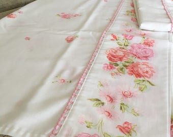 Vintage pink floral full/twin pillowcases