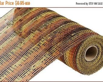 SUPPLY SALE 10 Inch Chocolate Copper Gold Wide Foil Striped Deco Mesh Roll RE1364Hx, Deco Mesh Supplies