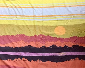 SALE Vintage twin fitted large landscape sheet remix bed sheets mod bedding retro linens crafts fabric