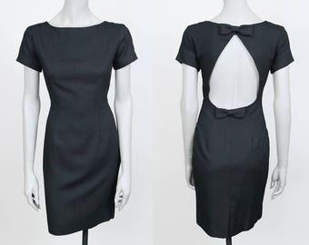 Vintage 90s Dress / 1990s Minimalist Black Linen Blend Backless Sheath Dress S