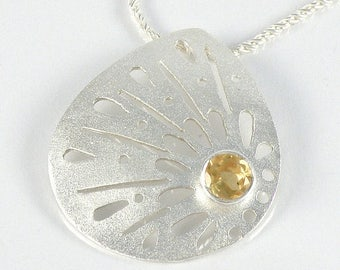 Yellow Citrine Necklace, Citrine Pendant Gifts For Her, Citrine Jewelry, Citrine Silver Necklace, Lace Sterling Silver Necklace