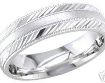 10k white gold mens 6.5mm sandblast wedding band engagement anniversary