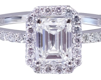 14k white gold emerald cut moissanite and diamond engagement ring halo Wedding, Bridal, Anniversary, Prong, 1.50ct