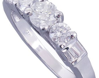 10k White Gold Round Cut Baguettes Diamond Engagement Ring Prong Set Wedding, Bridal, Anniversary, Prong, Natural Diamonds 0.88ctw