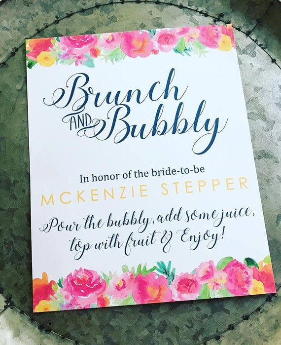 Brunch and Bubbly Bridal Shower 8x10 Sign