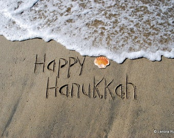 Happy Hanukkah, Writing in the Sand, Instant Download