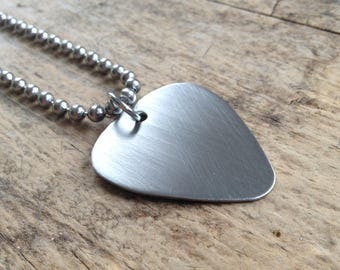 Men's Brushed Guitar Pick Necklace, Brushed Stainless Steel Jewelry, Gift For Him, Boyfriend Gift, Groomsmen Gift, Musician Necklace
