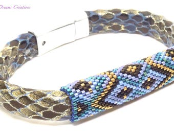 Bracelet multicolor woven beads, with Delica miyuki glossy on soft base magnetized