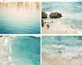 "SALE Beach Print Set, Aqua Wall Art, Blue Teal Cream, Coastal Photography, Beach Decor, Coastal Photography, Gallery Wall ""Aqua Print Set"""