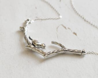 Silver Bird on Branch Necklace, Silver Pendant Necklace, Nature Necklace, Nature Jewellery, Woodland Jewelry, Gift For Her, Bird Lover Gift