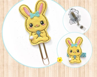 Easter bunny planner clip , Paperclip, Planner bookmark / Easter bunny hair clip, hair bow, barrette / Easter bunny badge reel