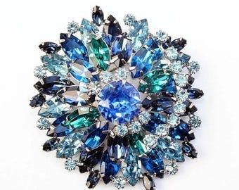 20% OFF SALE - Exceptional WEISS Capri, Blue Zircon, Montana Sapphire and Light Sapphire Rhinestone Floral Brooch