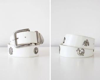 Vintage Leather Belt • Silver Medallion Belt • White Leather Belt • Southwestern Belt • 80s Belt • Vintage Leather Belt | BT357