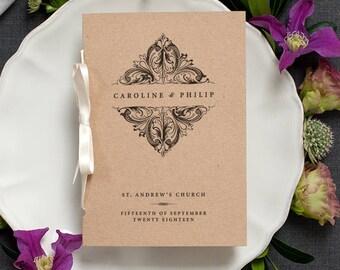 Vintage Victorian Wedding Program / Order of Service Pocket-Sized Booklet Rustic Brown Kraft Cover / Elegant Vintage Wedding / ONE SAMPLE