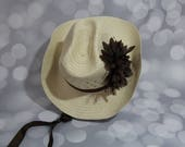 Natural Colored Ladies Cowgirl Hat - Womens Cowboy Hat - Woman Western Hat - Brown Ribbon Casual Hat  - LCB1731