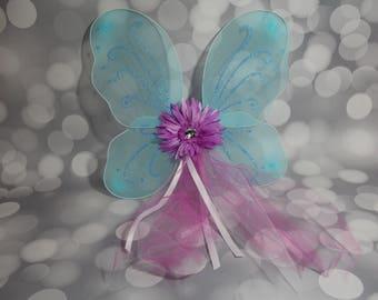 Blue Butterfly Wings, Girls Blue Fairy Wings, Girl Butterfly Wings, Children's Pixie Wings, Turquoise Play Wings, Mauve FW1731