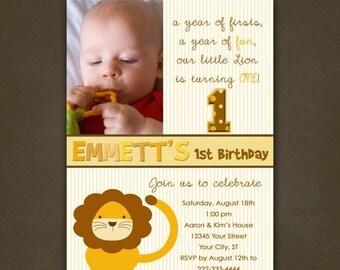 ON SALE Lion Birthday Invitation, Printable File, Photo