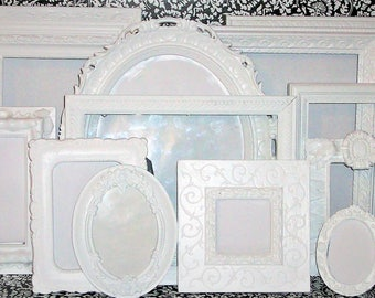 Set of 13 Ornate  Shabby Chic Bright White Picture Frames for Gallery Wall, Wedding Decor, Nursery Decor