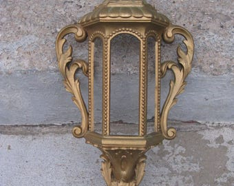 vintage burwood wall planter dated 1974 ornate gold mediterranean gothic old world