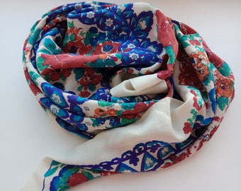 Russian floral silk scarf. Vintage pure crepe silk scarf. Russian style. Boho festival scarf