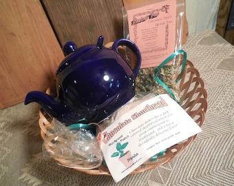 Deep Blue Ceramic Tea Pot Gift Basket, ceramic teapot, scones, shortbread, herbal tea, infuser, gift set, basket tray
